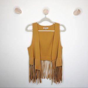 Naked Zebra mustard yellow fringe cropped vest